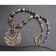 Amethyst necklace purple beaded boho necklace artisan necklace Boho... ($156) via Polyvore featuring jewelry, necklaces, beading necklaces, beaded jewelry, purple statement necklace, purple amethyst necklace and bohemian necklaces