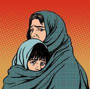 Buy Refugee Mother and Child Migration Poverty by studiostoks on GraphicRiver. Refugee mother and child migration poverty. Woe to the tragedy of human emotions. Political and socia. La Migration, Social Themes, Human Drawing, People Icon, Political Art, Art Courses, School Art Projects, Illustration, Colorful Drawings