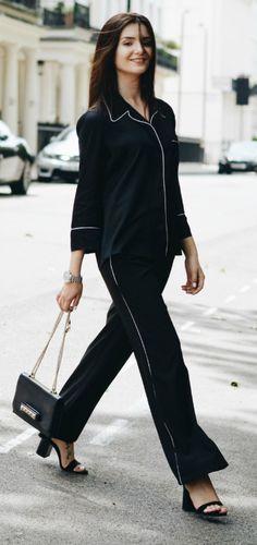 Lolita Masagutova + pyjamas inspired co-ord + strappy heels + statement bag + boyfriend watch too + touch of daintiness to the whole look.  Shirt: Zara Studio, Pants: Dorothy Perkins, Heels: Zara, Watch: Thomas Sabo, Bag: Valentino