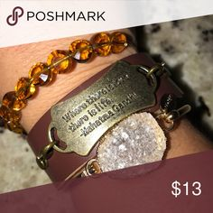 Handmade bohemian bracelet Brown leather cuff bracelet with great quote the leather band in adjustable .... this looks great with Alex and ani as shown Jewelry Bracelets