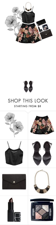 """""""black floral"""" by thailibarrios-1 ❤ liked on Polyvore featuring Wall Pops!, Ted Baker, Kiki de Montparnasse, Zara, Oroton, NARS Cosmetics, Christian Dior and Marc by Marc Jacobs"""