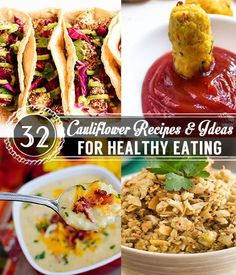 32 Cauliflower Recipes and Ideas for Healthy Eating | Quick and Easy Delicious Recipes by Pioneer Settler  http://pioneersettler.com/cauliflower-recipes-and-ideas/