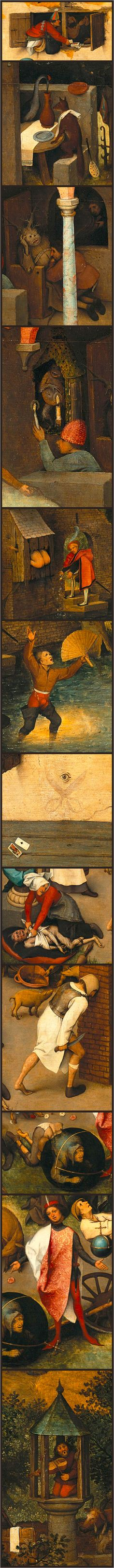 details from The Netherlandish Proverbs (1559) by Pieter Bruegel the Elder. [for full, zoomable picture, go to: http://www.google.com/culturalinstitute/asset-viewer/the-dutch-proverbs/WwG8mD89xbELbQ?hl=en ]