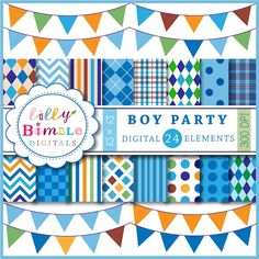 Boy Party    16 Papers  8 Bunting Banners    16 mix and match papers with boy colors.  Each paper is 12 x 12 inches and saved as a  high   resolution 300 dpi jpg.  8 Bunting Banners that are saved individually as a .jpg and a .png. They are 12 inches wide.