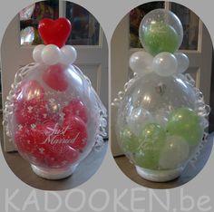 Geschenkballon huwelijk, huwelijksballonnen, cadeau huwelijk, geldkado trouw, heliumballons, aankleding huwelijk, decoratie trouw, stuffer www.kadooken.be