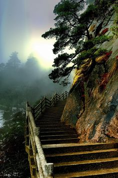 Trail in the Huangshan mountain range in Eastern China.