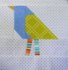 This is a very simple block pattern for Improv birds. This pattern has  cutting instructions and a detailed guide on how to piece it. This pattern  is intended to be a simple starting point in making improv birds. After you  make a couple you can make their legs and necks longer. You can create  short plump birds or tall skinny ones. Add feather plumage to their head or  long fancy tails. Let your imagination take flight!   This bird block pattern is based on the improv bird quilt my Flickr…
