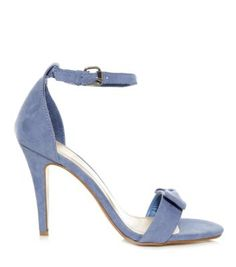 Blue Suedette Bow Ankle Strap Heels