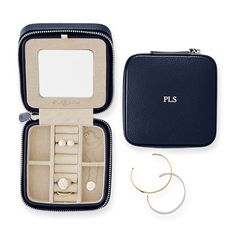 Travel Jewelry Case, Navy with initials