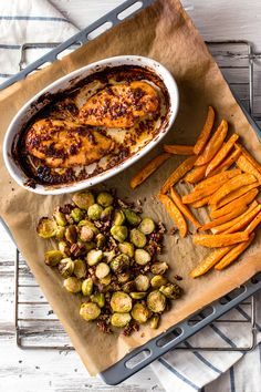 Maple and Mustard Glazed Chicken with Roasted Sweet Potatoes and Brussels Sprouts - (Free Recipe bel Maple Dijon Chicken, Glazed Chicken, Mustard Chicken, Glazed Salmon, Balsamic Chicken, Roasted Chicken, Chicken Potatoes, Roasted Sweet Potatoes, Clean Eating Snacks