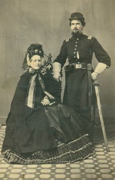 Unidentified Union Captain and woman. to They were always so elaborate. But I really do think that I am obsessed with this time period. (Civil War or Victorian Era. American Revolutionary War, American Civil War, American History, Historical Clothing, Historical Photos, Vintage Photographs, Vintage Photos, Civil War Dress, Civil War Photos
