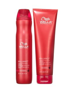 COLOR-TREATED HAIR  Wella Professionals Brilliance Shampoo and Conditioner for Fine to Normal Colored Hair don't just protect your color; their crystallized polymers give hair mirrorlike shine.