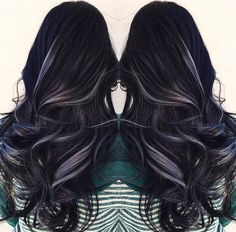 Black hair with grey highlights