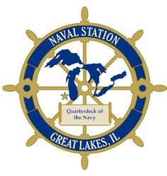 """Emblem of Naval Training Center (NTC) Great Lakes, IL -- """"The Quarterdeck of the Navy"""" as it's home to recruit training, as well as basic and advanced technical training schools for yrs Navy Base, Go Navy, Navy Mom, Navy Sister, Navy Girlfriend, Military Careers, Navy Military, Military Ranks, Boot Camp"""