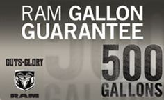 Ramtrucks.com is organizing the The RAM Gallon Guarantee Sweepstakes and is giving away the chance to win 500 gallon of fuel!