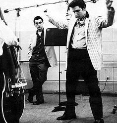 Elvis at work for his first recording session on the movie set Jailhouse rock april 30 1957 .