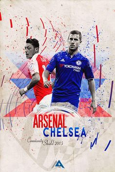 Arsenal 1 Chelsea 0 in Aug 2015 at Wembley. The programme cover for the Community Shield show down. Man U Vs Chelsea, Arsenal Vs Chelsea, Community Shield, Sports Graphic Design, Soccer Poster, Fc B, Football Art, Yokohama, Charity