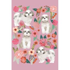 """East Urban Home Shih Tzu Floral Collage by Pet Friendly Graphic Art on Wrapped Canvas Size: 40"""" H x 26"""" W x 1.5"""" D"""