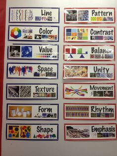 The principles and elements of art posters nicely displayed within the art room space.  Be sure to keep them at the eye level of the students you are working with so they can see them well.