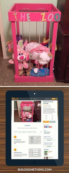 This DIY Zoo will provide a convenient place for the kids to neatly store and display all of their stuffed animals. The bungee sides allow them to easily pull the animals out, and the open top lets them toss them back in when they're done playing. FREE PLANS at buildsomething.com
