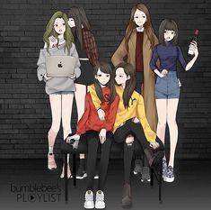 Best Friend Drawings, Bff Drawings, Anime Girlxgirl, Hachiko Statue, Kpop, Cute Kawaii Girl, Korean Best Friends, Girl Friendship, G Friend