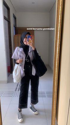Casual Hijab Outfit, Ootd Hijab, Hijab Chic, Casual Outfits, Fashion Outfits, Style Fashion, Modern Hijab Fashion, Street Hijab Fashion, Hijab Fashion Inspiration
