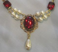 Red Vintage Glass and Pearl Necklace by treasuresbycathy on Etsy, $24.95