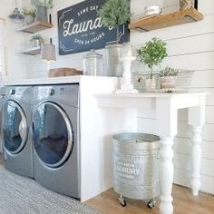 Who says that having a small laundry room is a bad thing? These smart small laundry room design ideas will prove them wrong. Rustic Laundry Rooms, Laundry Room Shelves, Laundry Room Cabinets, Farmhouse Laundry Room, Small Laundry Rooms, Laundry Room Organization, Laundry Room Design, Laundry Decor, Basement Laundry