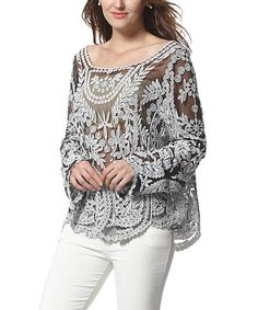 Look what I found on #zulily! Gray Sheer Palm-Embroidered Boatneck Top by Simply Couture #zulilyfinds