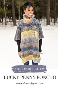 The Lucky Penny Poncho crochet pattern by Sincerely, Pam. The perfect cold weather friend. The squishy yarn, dense fabric, and cushiony cowl make this a go-to design for Winter. Knitting For BeginnersKnitting For KidsCrochet PatronesCrochet Baby Poncho Au Crochet, Crochet Shawls And Wraps, Crochet Scarves, Knit Crochet, Knitted Shawls, Crochet Vests, Crochet Sweaters, Crochet Shirt, Crochet Clothes
