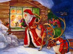 Christmas Paintings are beautiful wallpapers you can choose to decorate your computer desktop. Christmas paintings look like real painted pictures and usually have antique look, perfect for retro lovers. Father Christmas, Christmas Time, Christmas Crafts, Merry Christmas, Christmas Snoopy, Christmas Carnival, Christmas Jesus, Christmas Scenes, Vintage Santas