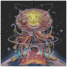 Alien Octopus Cross Stitch Pattern, Instant Download PDF