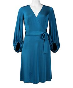Another great find on #zulily! Blue Tie-Front Surplice Dress by Donna Ricco #zulilyfinds