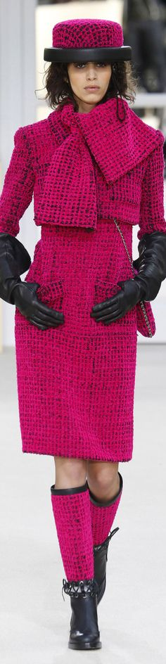 Chanel 2016 Brighter pink colour, also interesting collar detail that looks like a scarf