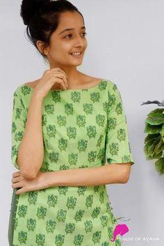 Evergreen Forest Kota Kurti - House of Ayana Simple Kurta Designs, Kurta Designs Women, Blouse Designs, Kurti Patterns, Dress Sewing Patterns, Dress Indian Style, Indian Outfits, Indian Gowns, Churidar Designs