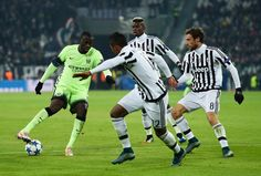 Yaya Toure of Manchester City is closed down by Juventus players during the UEFA Champions League group D match between Juventus and Manchester City FC at the Juventus Stadium on November 25, 2015 in Turin, Italy. (Nov. 24, 2015 - Source: Mike Hewitt/Getty Images Europe)