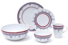 Padma Lakshmi's new Minakari porcelain dinnerware, available at Bloomingdales.