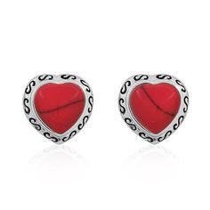 925 Sterling Silver Red Coral Heart Stud Earrings