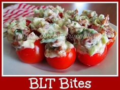 The Country Cook: BLT Bites {OMGosh!! These are little bites of heaven!!} Low Carb Appetizers, Great Appetizers, Appetizer Recipes, Tomato Appetizers, One Bite Appetizers, Halloween Appetizers, Holiday Appetizers, Party Appetizers, Party Recipes