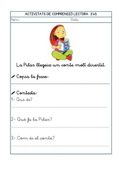 Dori dos 1112_mt005_r1_comprensio_lectora_3 Conte, Teaching, Education, School, Reading, Frases, Reading Comprehension, Teaching Reading Strategies, Preschool