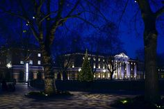 "Duke of York, Headquarters Building, London - dpa lighting consultants - ""Right Light, Right Place, Right Time"" ™ Museum Lighting, Facade Lighting, Tree Lighting, Exterior Lighting, Outdoor Lighting, Gallery Lighting, Blenheim Palace, Dappled Light"