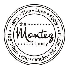 Modern Fun Polka Dot Round Family Return Address Stamp - Self Inking Stamper Great Gift. $31.95, via Etsy.