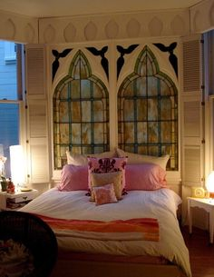 What a FABULOUS headboard made out of old stained church windows. Church Windows, Old Windows, Window Headboard, Headboard Decor, Medieval Gothic, Desk Inspiration, Stained Glass Windows, White Walls, Bedroom Decor