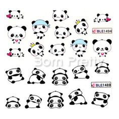 Nail Art Water Decals Transfers Sticker Cute Playing Panda Pattern 1 Sheet  #Unbranded