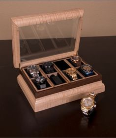Curly Maple and Walnut Watch Box by MGACustomWoodworks on Etsy https://www.etsy.com/listing/223921874/curly-maple-and-walnut-watch-box
