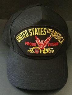 United States Of America Proud Veteran Hat Snapback Black Cap Military Service #EagleCrest