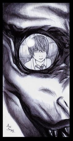 I have seen many Death Note pictures before but this picture really caught my eye. Very original I love it!