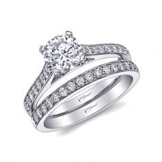 A classic and refined engagement ring featuring micro-prong set diamonds. Shown with a 1CT center stone. #coastdiamond (LC10229/ WC10229)