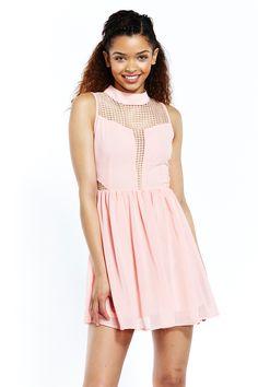 Pink Lace Insert Skater Dress by Liquorish. Dress For Short Women, Short Dresses, Everyday Dresses, Lace Insert, Pink Lace, Skater Dress, Evening Dresses, Your Style, Curvy