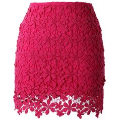 Lace Crochet Bud Skirt in Hot Pink ($45) ❤ liked on Polyvore